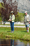 Jennifer Pahl learns to fly fish with her River Buddy Jim Norton during the Casting for Recovery fishing clinic at Bently Ranch in Gardnerville, Nev. May 4, 2018.<br /> Photo by Candice Vivien/Nevada Momentum