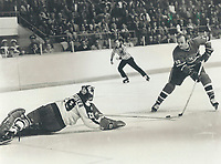 1978<br />  FILE PHOTO - ARCHIVES -<br /> <br /> Mike Palmateer makes sensational diving poke check to thwart Guy Lafleur on second-period breakaway<br /> <br /> 1978<br /> <br /> PHOTO : Dick Darrell  - Toronto Star Archives - AQP