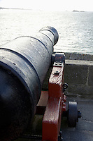 Cannon facing the sea along the ramparts of the old fort at Saint-Malo, Brittany, France.