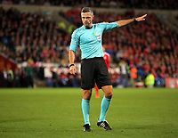 Referee Damin Skomina awards a foul to Ireland during the FIFA World Cup Qualifier Group D match between Wales and Republic of Ireland at The Cardiff City Stadium, Wales, UK. Monday 09 October 2017