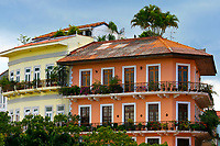 View of spanish colonial archetecture and gardens, Casco Viejo District, Panama City
