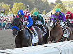 Bayern (no. 4), ridden by Martin Garcia and trained by Bob Baffert, wins the 35th running of the grade 2 Pennsylvania Derby for three year olds on September 20, 2014 at Parx Racing in Bensalem, Pennsylvania.  (Bob Mayberger/Eclipse Sportswire)