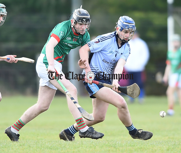 Adam Loughman of St Fergal's College in action against Jack  Minogue of Scariff Community College during their All-Ireland Colleges final at Toomevara. Photograph by John Kelly.
