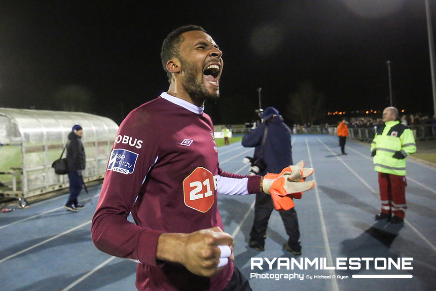 Lawerence Vigouroux of Waterford celebrates at the end of the SSE Airtricity League Premier Division game between Waterford FC and Cork City on Friday 6th April 2018 at The RSC, Waterford. Photo By Michael P Ryan