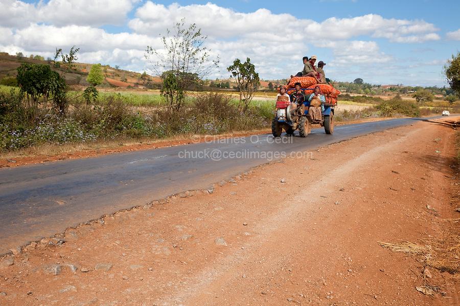 Myanmar, Burma.  Local Tractor Transport, Shan State.