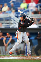 Aberdeen Ironbirds second baseman Alejandro Juvier (6) at bat during a game against the Batavia Muckdogs on July 16, 2016 at Dwyer Stadium in Batavia, New York.  Aberdeen defeated Batavia 9-0. (Mike Janes/Four Seam Images)