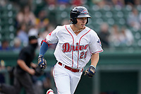 Center fielder Tyler Esplin (25) of the Greenville Drive in a game against the Asheville Tourists on Wednesday, June 2, 2021, at Fluor Field at the West End in Greenville, South Carolina. (Tom Priddy/Four Seam Images)