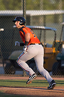 AZL Giants Orange designated hitter Joey Bart (9) starts down the first base line during an Arizona League game against the AZL Athletics at Lew Wolff Training Complex on June 25, 2018 in Mesa, Arizona. AZL Giants Orange defeated the AZL Athletics 7-5. (Zachary Lucy/Four Seam Images)