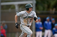 Dartmouth Big Green Oliver Campbell (27) runs to first base during a game against the Indiana State Sycamores on February 21, 2020 at North Charlotte Regional Park in Port Charlotte, Florida.  Indiana State defeated Dartmouth 1-0.  (Mike Janes/Four Seam Images)