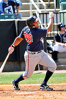 Donnell Linares #29 of the Mississippi Braves in action versus the West Tenn Diamond Jaxx at Pringles Park April 18, 2010 in Jackson, Tennessee. (Photo by Grant Halverson / Four Seam Images)