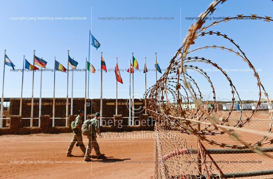 MALI, Gao, Minusma UN peace keeping mission, Camp Castor, german army Bundeswehr, flags of nations in the camp / Bundeswehr in der UN Minusma Mission, Multidimensionale Integrierte Stabilisierungsmission der Vereinten Nationen in Mali, Camp Castor, Flaggen der teilnehmenden Nationen