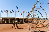 MALI, Gao, Minusma UN peace keeping mission, Camp Castor, german army Bundeswehr, flags of nations in the camp / Bundeswehr in der UN Minusma Mission, Multidimensionale Integrierte Stabilisierungsmission der Vereinten Nationen in Mali, Camp Castor, Flaggen der teilnehmenden Nationen
