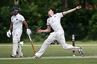 Ash Casey in bowling action for Brentwood during Brentwood CC (bowling) vs Harold Wood CC, Hamro Foundation Essex League Cricket at The Old County Ground on 12th June 2021
