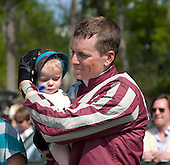 Jeff Murphy and son Niall after Swimming River takes the Alfred Hunt.