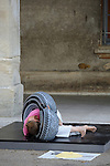 """Uzes Danse Festival 2010<br /> Confidences / Marc Vincent, ARTEFACTDANSE<br /> <br /> Confidence 1 : Christine Jouve, présente seule """"France Algérie"""", pour un interprète et un plasticien<br /> Le 12/06/2010<br /> Uzes<br /> © Laurent Paillier / photosdedanse.com<br /> All rights reserved"""