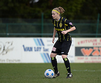 20140315 - WESTERLO , BELGIUM : Lierse Caroline Berrens  pictured during the soccer match between the women teams of SK Lierse Dames  and SC Heerenveen Vrouwen , on the 19th matchday of the BeNeleague competition Saturday 15 March 2014 in Westerlo . PHOTO DAVID CATRY