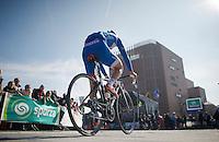 Bjorn Leukemans (BEL) off to the sign-in<br /> <br /> 3 Days of West-Flanders <br /> stage 1: Brugge - Harelbeke 183km
