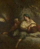 Full title: The Whisper<br /> Artist: Jean-François Millet<br /> Date made: about 1846
