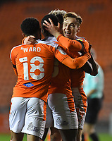 Blackpool's Dan Kemp celebrates scoring his team's opening goal<br /> <br /> Photographer Dave Howarth/CameraSport<br /> <br /> EFL Trophy - Northern Section - Group G - Blackpool v Leeds United U21 - Wednesday 11th November 2020 - Bloomfield Road - Blackpool<br />  <br /> World Copyright © 2020 CameraSport. All rights reserved. 43 Linden Ave. Countesthorpe. Leicester. England. LE8 5PG - Tel: +44 (0) 116 277 4147 - admin@camerasport.com - www.camerasport.com