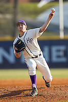 High Point Panthers relief pitcher Jon Carlson (26) delivers a pitch to the plate against the Bowling Green Falcons at Willard Stadium on March 9, 2014 in High Point, North Carolina.  The Falcons defeated the Panthers 7-4.  (Brian Westerholt/Four Seam Images)