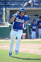 T.J. Peters (31) of the Rancho Cucamonga Quakes runs to first base during a game against the Stockton Ports at LoanMart Field on May 28, 2017 in Rancho Cucamonga, California. Stockton defeated Rancho Cucamonga, 7-4. (Larry Goren/Four Seam Images)