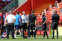 Referee, Gavin Ward, looks away as Charlton Manager, Lee Bowyer shows his frustration at the final whistle during Charlton Athletic vs Wigan Athletic, Sky Bet EFL Championship Football at The Valley on 18th July 2020