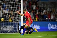 ORLANDO, FL - NOVEMBER 15: Jordan Morris #11 of the United States scores a goal and celebrates during a game between Canada and USMNT at Exploria Stadium on November 15, 2019 in Orlando, Florida.