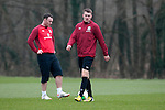Cardiff - UK - 19th March 2013 : Aaron Ramsey during a Wales football squad training session at the Vale Hotel near Cardiff ahead of their game with Scotland at the weekend.