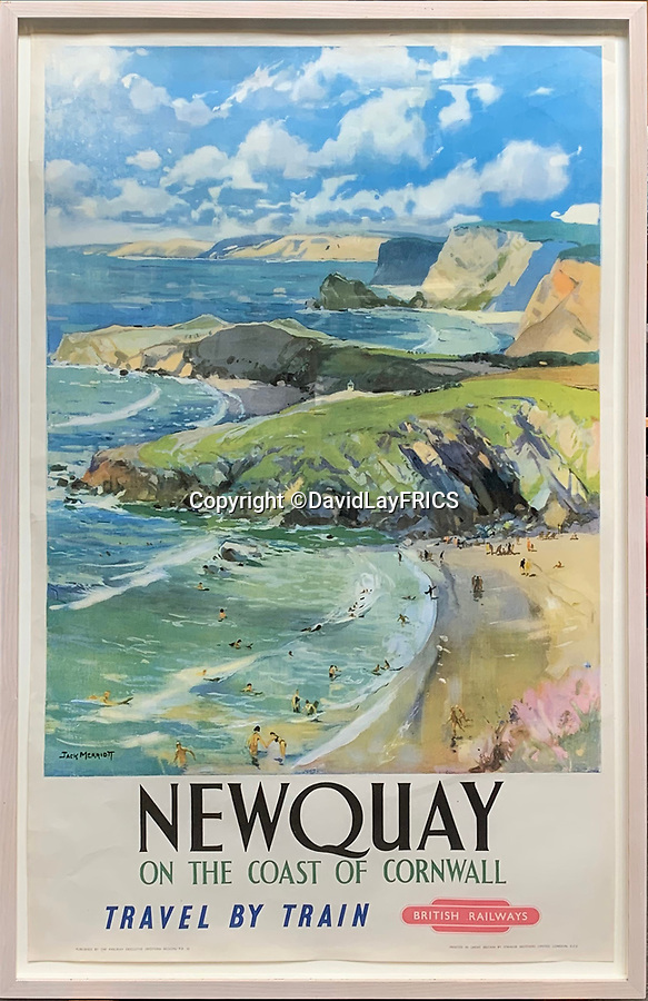 BNPS.co.uk (01202 558833)<br /> Pic: DavidLayFRICS/BNPS<br /> <br /> A British Railways poster promoting Newquay<br /> <br />  A wonderful collection of vintage British travel posters celebrating the golden age of the seaside getaway have emerged for sale for £15,000.<br /> <br /> The posters were produced by Great Western Railway and British Railways between the 1930s to the 1960s to encourage Brits to holiday on the Cornish coast.<br /> <br /> One striking Art Deco poster issued by Great Western Railway shows a lady in an orange swimsuit at Newquay with surfers in the background. <br /> <br /> It describes the popular holiday destination as 'Cornwall's first Atlantic resort'.<br /> <br /> The collection of about 30 posters has been put together by a private collector over the past two decades who is now selling them with auction house David Lay FRICS, of Penzance, Cornwall.