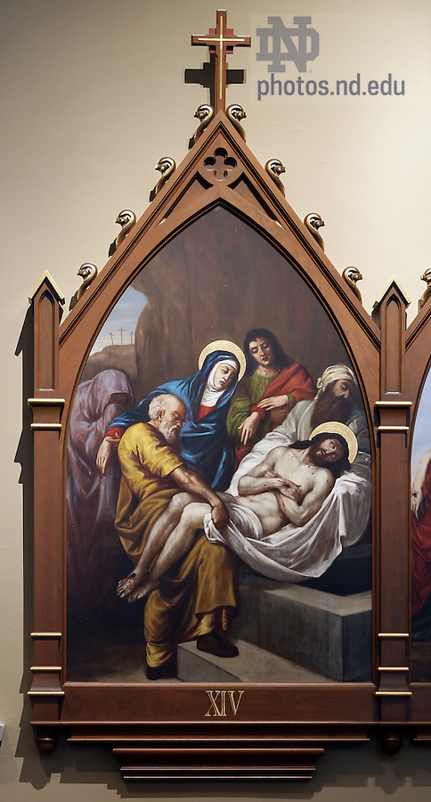 Stations of the Cross in the Basilica of the Sacred Heart.  Station 14...Photo by Matt Cashore..