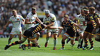 Thomas Waldrom of Exeter Chiefs is tackled by Matt Symons of Wasps the Premiership Rugby Final at Twickenham Stadium on Saturday 27th May 2017 (Photo by Rob Munro)