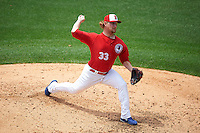 Buffalo Bisons pitcher Austin Bibens-Dirkx (33) delivers a pitch during a game against the Scranton/Wilkes-Barre RailRiders on June 10, 2015 at Coca-Cola Field in Buffalo, New York.  Scranton/Wilkes-Barre defeated Buffalo 7-2.  (Mike Janes/Four Seam Images)