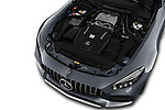 Car stock 2019 Mercedes Benz AMG GT base 2 Door Roadster engine high angle detail view