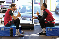 (L-R) Angel Rangel and Roque Mesa exercise in the gym during the Swansea City Training at The Fairwood Training Ground, Swansea, Wales, UK. Friday 15 December 2017