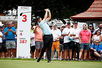 3rd July 2021, Detroit, MI, USA;   Tom Lewis hits his tee shot on the third hole on July 3, 2021 during the Rocket Mortgage Classic at the Detroit Golf Club in Detroit, Michigan.