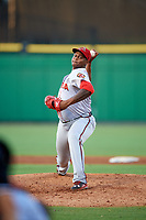 Florida Fire Frogs relief pitcher Mauricio Cabrera (22) delivers a pitch during a game against the Clearwater Threshers on June 1, 2018 at Spectrum Field in Clearwater, Florida.  Florida defeated Clearwater 12-10.  (Mike Janes/Four Seam Images)