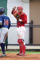 GCL Phillies catcher Nerluis Martinez (11) during a game against the GCL Braves on August 3, 2016 at the Carpenter Complex in Clearwater, Florida.  GCL Phillies defeated GCL Braves 4-3 in a rain shortened six inning game.  (Mike Janes/Four Seam Images)