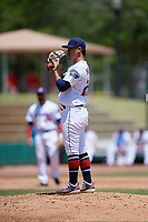 Jacksonville Jumbo Shrimp starting pitcher Jordan Yamamoto (23) during a Southern League game against the Tennessee Smokies on April 29, 2019 at Baseball Grounds of Jacksonville in Jacksonville, Florida.  Tennessee defeated Jacksonville 4-1.  (Mike Janes/Four Seam Images)
