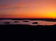 Sunrise over Frenchman Bay from Cadillac Mountain in Acadia National Park, Maine USA.