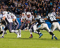 The Carolina Panthers play the New England Patriots at Bank of America Stadium in Charlotte North Carolina on Monday Night Football.  The Panthers defeated the Patriots 24-20.  New England Patriots running back Stevan Ridley (22), Carolina Panthers strong safety Quintin Mikell (27)