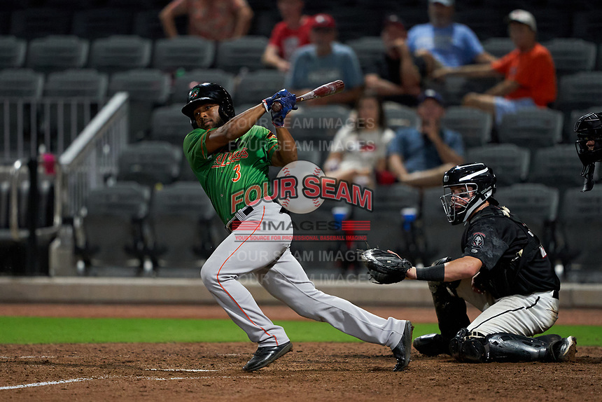 Down East Wood Ducks Franklin Rollin (3) at bat in front of catcher Michael Papierski (28) during a Carolina League game against the Fayetteville Woodpeckers on August 13, 2019 at SEGRA Stadium in Fayetteville, North Carolina.  Fayetteville defeated Down East 5-3.  (Mike Janes/Four Seam Images)