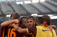 Calcio, Serie A: Roma vs Juventus. Roma, stadio Olimpico, 30 agosto 2015.<br /> Roma's Miralem Pjanic, center, celebrates with teammates after scoring during the Italian Serie A football match between Roma and Juventus at Rome's Olympic stadium, 30 August 2015.<br /> UPDATE IMAGES PRESS/Riccardo De Luca