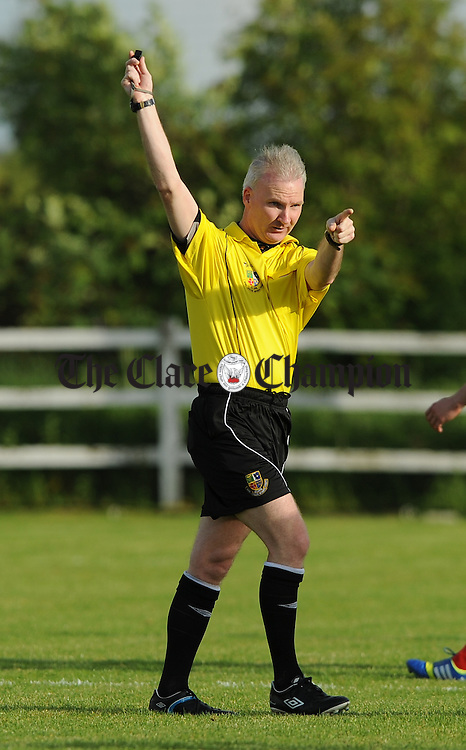 Referee Michael Rock during the Clare Cup final at the County Grounds. Photograph by John Kelly.