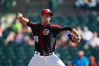Rochester Red Wings pitcher A.J. Achter (35) delivers a pitch during a game against the Norfolk Tides on May 3, 2015 at Frontier Field in Rochester, New York.  Rochester defeated Norfolk 7-3.  (Mike Janes/Four Seam Images)