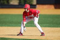 Alexander Lee (33) of the Radford Highlanders takes his lead off of first base against the Missouri Tigers at Wake Forest Baseball Park on February 21, 2014 in Winston-Salem, North Carolina.  The Tigers defeated the Highlanders 15-3.  (Brian Westerholt/Four Seam Images)