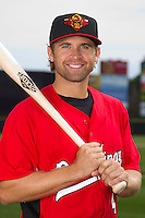 Rochester Red Wings infielder Brian Dozier #4 poses for a photo during media day at Frontier Field on April 3, 2012 in Rochester, New York.  (Mike Janes/Four Seam Images)