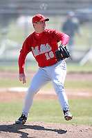 April 4, 2009:  /p/ Brad Piatt (16) of the Ball State Cardinals during a game at Amherst Audubon Field in Buffalo, NY.  Photo by:  Mike Janes/Four Seam Images