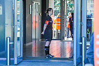 referee Irmgard Van Meirevenne waiting for the players pictured before a female soccer game between  AA Gent Ladies and RSC Anderlecht on the 17th matchday of the 2020 - 2021 season of Belgian Scooore Womens Super League , saturday 20 th of March 2021 in Oostakker , Belgium . PHOTO SPORTPIX.BE | SPP | STIJN AUDOOREN