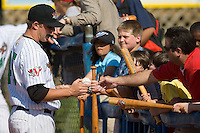 Steve Spurgeon (45) of the Winston-Salem Warthogs signs autographs for fans at Ernie Shore Field in Winston-Salem, NC, Saturday, May 17, 2008.