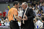 Real Madrid's coach Pablo Laso have wrods with the referee during Liga Endesa ACB match.March 29,2015. (ALTERPHOTOS/Acero)